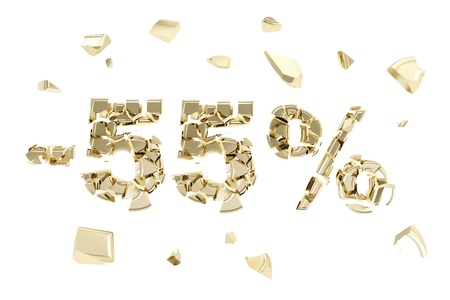 Minus fifty five percent discount emblem composition made of broken into golden pieces metallic symbols isolated photo