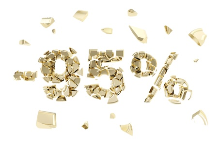 Minus ninety five percent discount emblem composition made of broken into golden pieces metallic symbols isolated photo