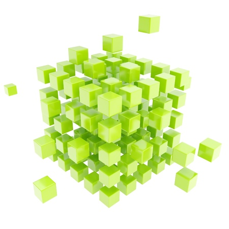 白い背景で隔離の緑の光沢のあるキューブ構成から成っている抽象的な背景 写真素材