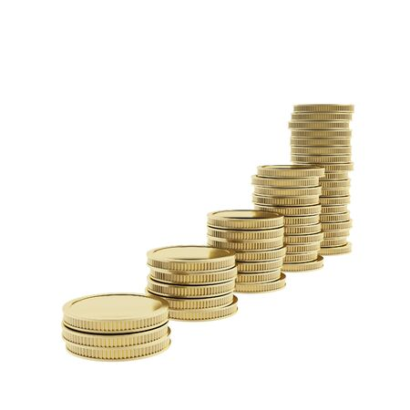 Growth and gold market metaphor as a stack piles of shiny golden coins isolated on white photo