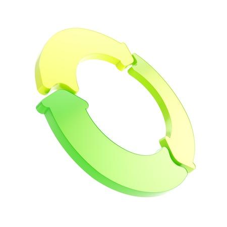 3 緑の光沢のある矢印白い背景で隔離から成っているサークル フレーム エンブレム タグ 写真素材