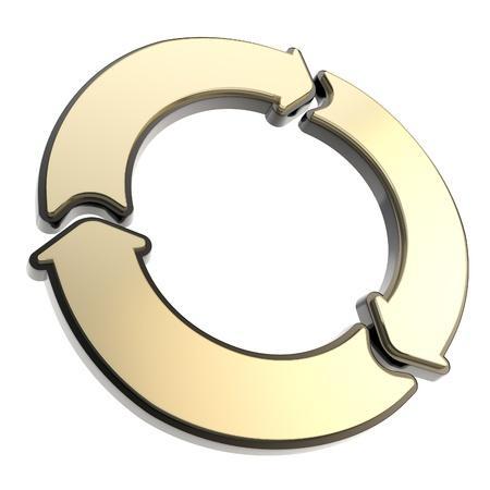 segmento: Tres segmento flecha copyspace dorado y negro etiqueta emblema aislado sobre fondo blanco Foto de archivo
