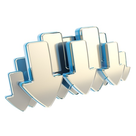 Cloud technology emblem icon tag made of glossy chrome metal and blue arrows isolated on white Stock Photo - 15114539
