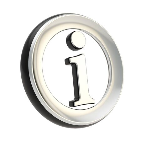 Chrome metal info I letter in a black circle as information emblem icon isolated on white Stock Photo - 15969853