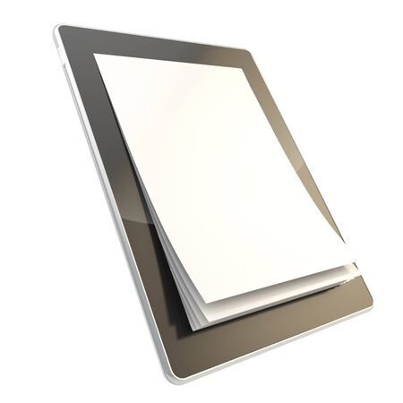 e ink: Digital document emblem icon as stylish glossy tablet pad electronic device with the real vertical oriented a4 paper pages instead of screen isolated on white background