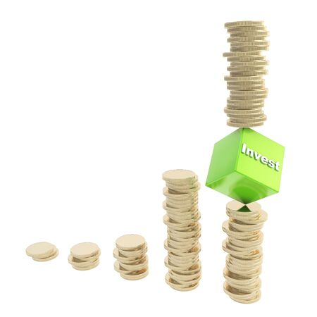 Investment risk conceptual illustration as a stack of golden coins balancing over the cube edge isolated on white background illustration