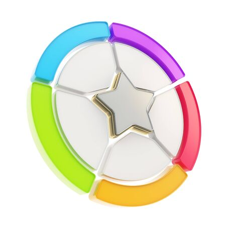 Five sector colorful star emblem copyspace diagram icon isolated on white background Stock Photo - 15969816