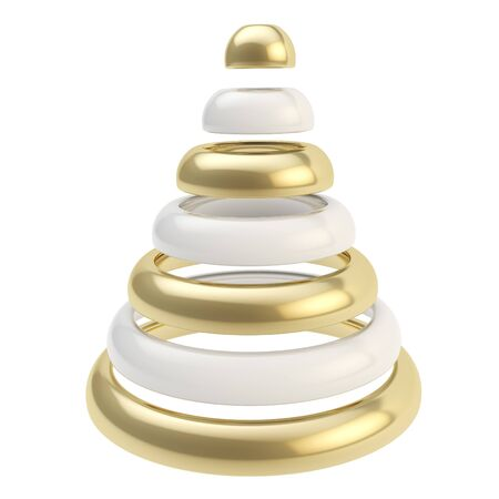 Futuristic Christmas tree made of glossy rings shape composition isolated on white background photo
