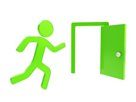 evacuatie: Stoppen, nooduitgang groen pictogram glanzende dimensionale embleem geïsoleerd op witte achtergrond Stockfoto