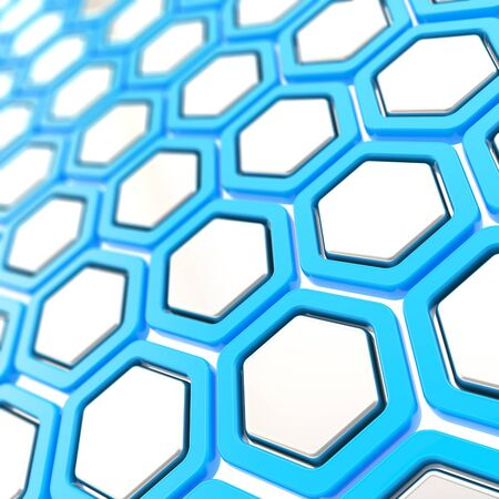 Copyspace white and blue glossy hexagon segments as abstract background photo