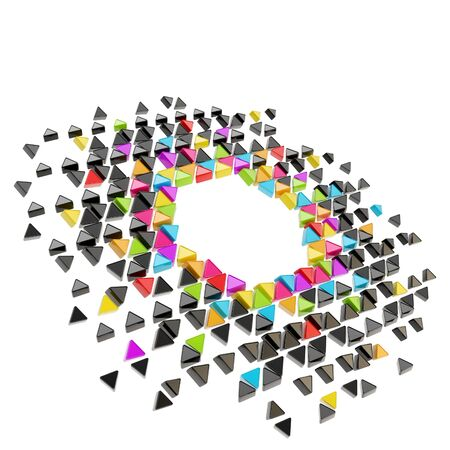Abstract copyspace hexagon frame backdrop made of tiny glossy colorful triangles among black ones isolated on white background photo