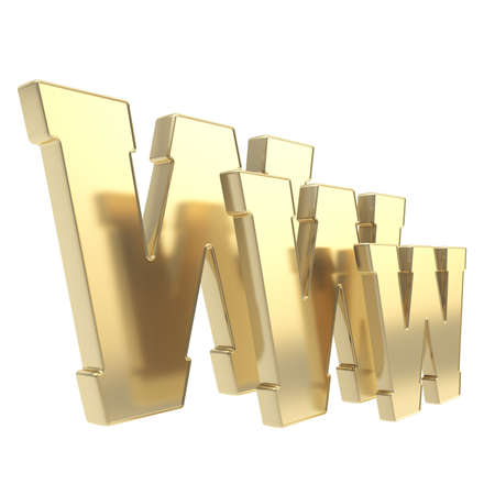 World wide web www glossy golden metal letter symbol isolated on white background Stock Photo - 15970140