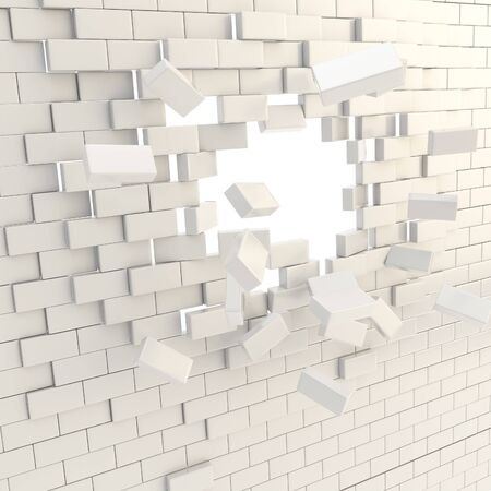 Broken into white glossy pieces brick wall with a copyspace hole in center photo