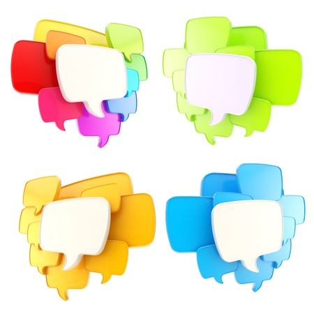 say: Cloud group of speech text bubbles compositions as copyspace banner plates isolated on white, set of four