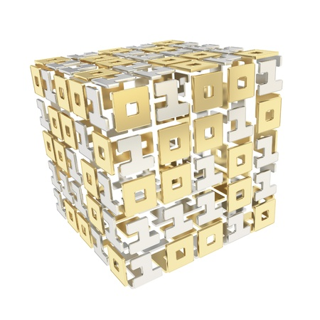 IT Technology and cybernetics  dimensional cube made of ones and zeros isolated on white photo