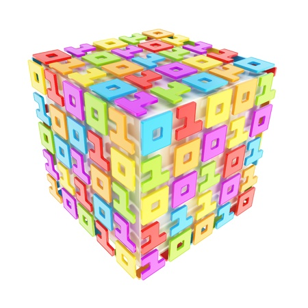 IT Technology and cybernetics  dimensional cube made of ones and zeros isolated on white Stock Photo - 15971722