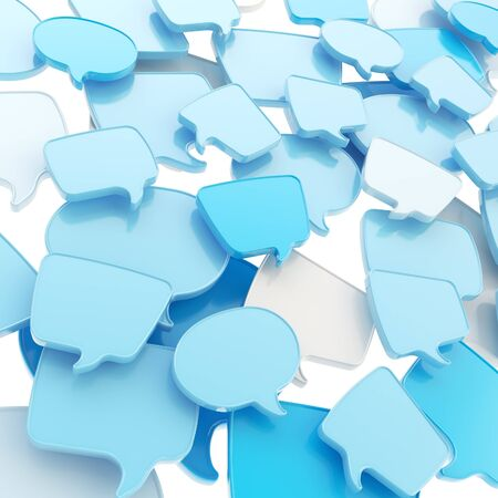 Group of glossy speech blue text bubbles randomly placed as abstract copyspace business communication background photo