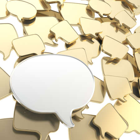 copyspace: Group of golden glossy speech text bubbles randomly placed as abstract copyspace business communication background Stock Photo