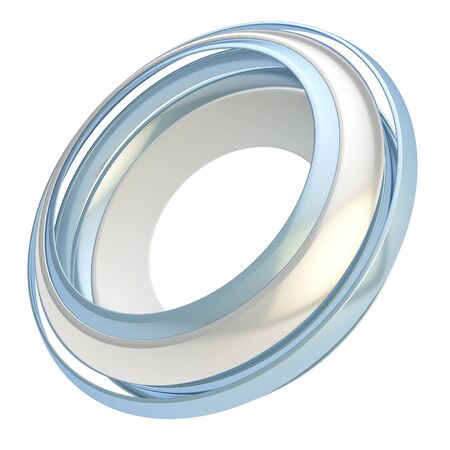 Copyspace circular round frame abstract background made of glossy chrome metal circle paths isolated on white photo
