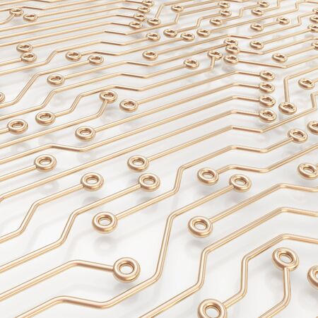 microcircuit: Microcircuit chip metal scheme over white surface as technology and science abstract background