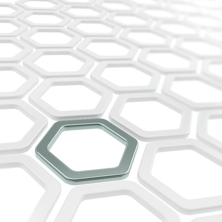 Abstract copyspace background made of white and chrome metal hexagon elements photo