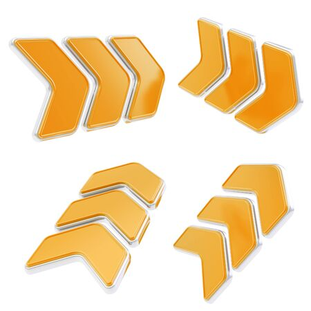 edging: Glossy direction copyspace plate sign orange with chrome edging isolated on white, set of four