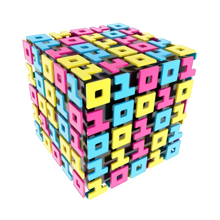 cybernetics: IT Technology and cybernetics: dimensional cube made of ones and zeros isolated on white