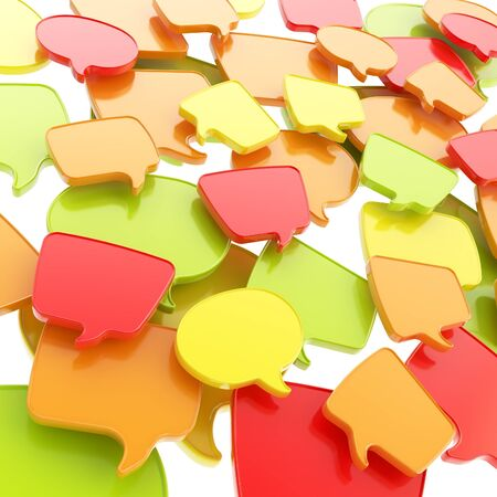 Group of glossy speech text bubbles randomly placed as abstract copyspace business communication background photo