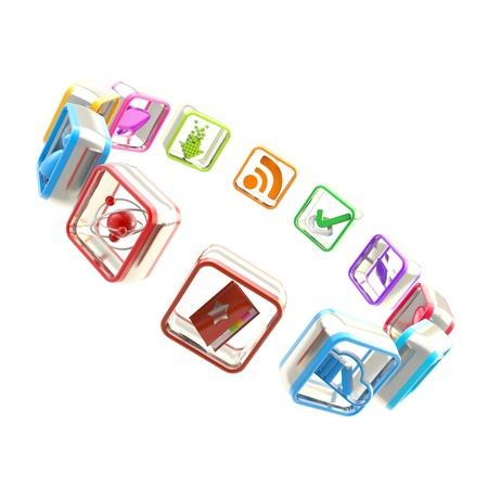 App Market Round Copyspace Frame Emblem Made Of Symbolic Mobile ...