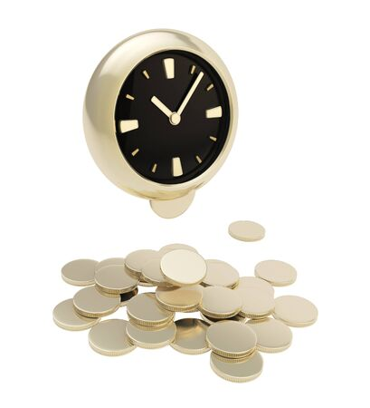 generates: Time generates money  stack of golden coins under the clock isolated on white background