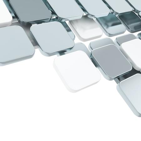 kare: Metin için alan, beyaz üzerinde soyut kelimeler krom metal parlak plaka kompozisyon arka plan