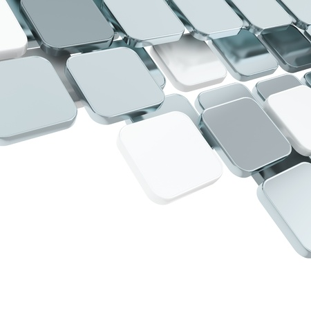 objetos cuadrados: Resumen copyspace cromo plateado de metal brillante fondo de la composici�n sobre blanco con el espacio para el texto