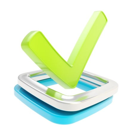 Yes check tick glossy green emblem icon over blue and chrome metal checkbox isolated on white background photo