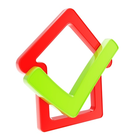 Real estate market conception  checked house glossy red emblem with green yes tick icon inside isolated on white background Stock Photo