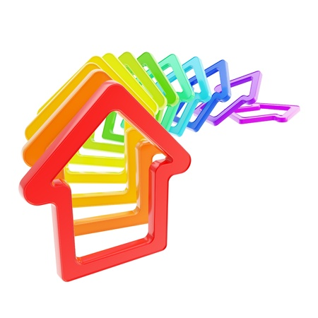 domino effect: House prices falling down  queue line of rainbow colored house emblems falling down as domino effect isolated on white background Stock Photo