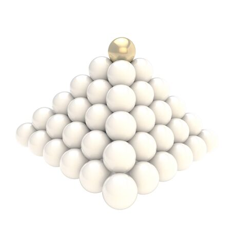 Leadership conception as pile pyramid of glossy spheres with one golden at the top, isolated on white background photo