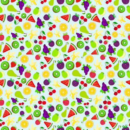 fruit illustration: Fruit raster background package design texture bright colorful pattern