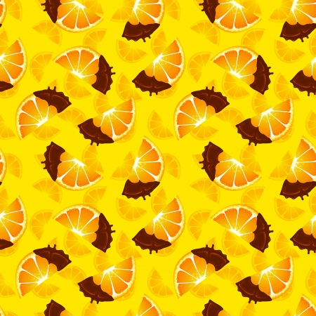 Orange slice covered with chocolate package design colorful raster pattern background photo