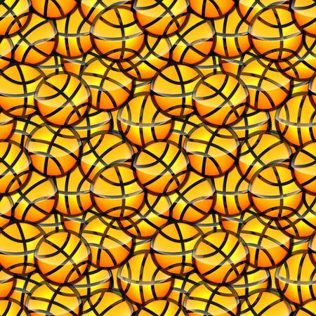 Seamless basketball glossy orange ball sticker raster texture pattern Stock Photo - 15972409