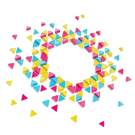 Abstract copyspace hexagon frame backdrop made of tiny glossy cmyk colored triangles isolated on white background photo