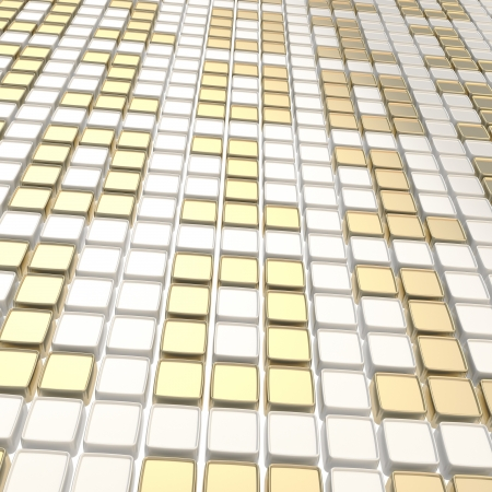Binary technology white and golden background  ones and zeros made of glossy square fragment plates Stock Photo - 15971776