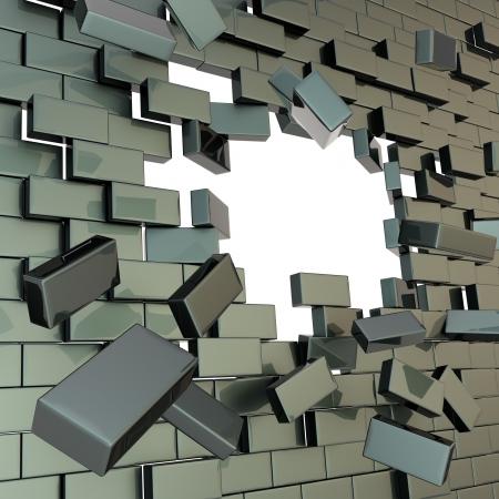 In stukken gebroken zwarte glanzende bakstenen muur met een copyspace gat in het midden Stockfoto