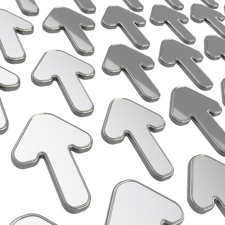Same direction group of chrome glossy arrows over white as abstract background Stock Photo - 15971446