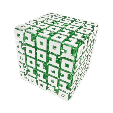 Computer science and cybernetics  dimensional cube made of ones and zeros isolated on white photo