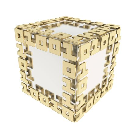 IT Technology and cybernetics  dimensional cube made of ones and zeros isolated on white Stock Photo - 15971443