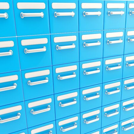 Accurate infinite rows of blue drawers as abstract business background