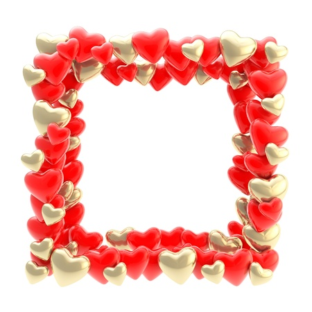 wedding photo frame: Square photo frame made of red and golden metal cute glossy hearts isolated on white background