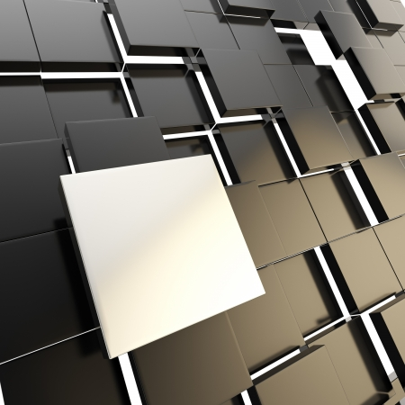 Abstract copyspace dark background made of chrome metal glossy square plate among black ones Stock Photo - 15971714