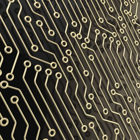 microcircuit: Microcircuit chip dimensional scheme over black surface as technology and science abstract background