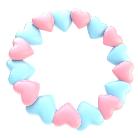 Lovely round photo picture  circle frame made of cute pink and blue glossy hearts isolated on white background photo